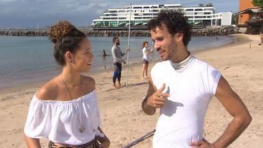Renatinha conhece o grupo Ex-Passo, que faz dança contemporânea em praias de Salvador - Renatinha conhece o grupo Ex-Passo, que faz dança contemporânea em praias de Salvador