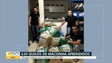 Polícia apreende mais de meia tonelada de maconha na GO-341, em Mineiros - Segundo a PM, homem havia pego a droga em Ponta Porã, no Mato Grosso do Sul, e a transportava para Goiânia; ele foi levado para a delegacia da cidade.