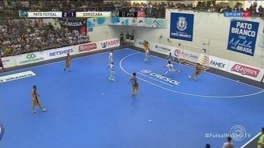 Pato elimina Sorocaba na prorrogação na Liga Nacional de Futsal - O Sorocaba está eliminado da liga nacional de futsal. A equipe perdeu a vaga pra grande decisão para o Pato, ontem, no Paraná.