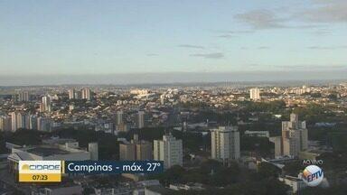 Campinas terá temperatura máxima de 27ºC nesta segunda-feira - Confira a previsão do tempo completa.