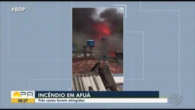 Três casas pegaram fogo no município de Afuá - O incêndio começou quando um botijão de gás explodiu.