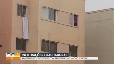 Rachaduras e infiltrações preocupam moradores de condomínio no Riacho Fundo II - Moradores reclamam que receberam os apartamentos novos já com problemas. Construtora diz que atende a todas as demandas.