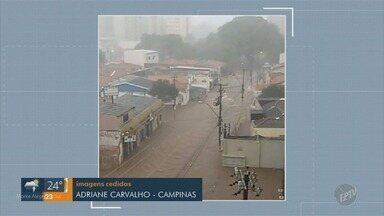 Região de Campinas tem ruas e casas alagadas por chuvas do domingo (25) - Veja imagens gravadas pelos telespectadores.
