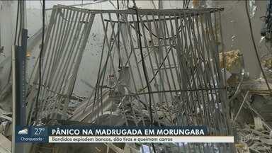 Criminosos explodem bancos e queimam carros em Morungaba - Eles atacaram dois bancos da cidade com explosivos.