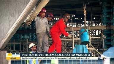 Excesso de peso pode ter provocado colapso em viaduto - Ponto de apoio em um dos pilares teria problema de sustentação.