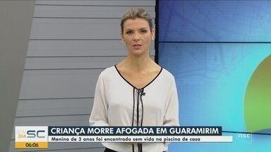Criança de três anos morre depois de se afogar na piscina de casa em Guaramirim - Criança de três anos morre depois de se afogar na piscina de casa em Guaramirim