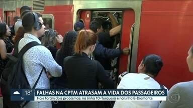 Reclamções de atrasos nos trens da CPTM aumentam 35 por cento este ano - Passageiros usam um sistema de mensagem de texto para relatar problemas com os trens. CPTM diz que aumento do número de usuários impactou no tempo de espera nas plataformas.