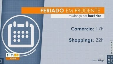 Feriados em Presidente Prudente e Dracena alteram horários de atendimentos a população - Veja como fica o expediente do comércio nas duas cidades.