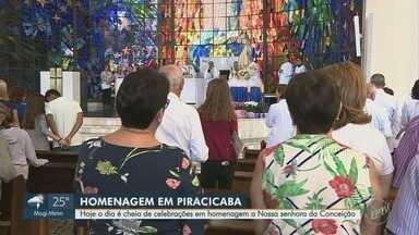 Católicos em Piracicaba prestam homenagens à Nossa Senhora da Conceição - Ao menos 300 pedaços de bolo foram preparados para celebração, neste sábado (8).