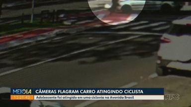 Câmera flagra acidente com ciclista - Adolescente de 17 anos sofreu ferimentos graves, mas está fora de perigo