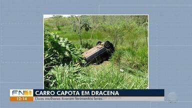 Capotamento deixa duas mulheres feridas em Dracena - Acidente foi na estrada vicinal Marcelo Lorenzetti.