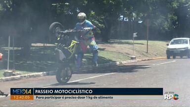 PM realiza passeio de moto em Cascavel - Para participar é preciso doar 1 kg de alimento. As doações serão entregues para a campanha 'Árvore do Bem'.