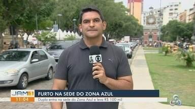 Dupla invade sede do consórcio da Zona Azul e rouba cerca de R$ 100 mil em Manaus - Suspeitos renderam e ameaçaram funcionários.