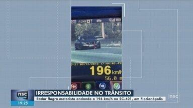 Radar flagra motorista conduzindo veículo a 196 km/h na SC-401 em Florianópolis - Radar flagra motorista conduzindo veículo a 196 km/h na SC-401 em Florianópolis