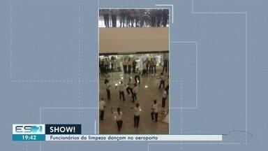 Funcionários da limpeza dançam no aeroporto de Vitória - Eles deram um show de animação para quem estava no local.