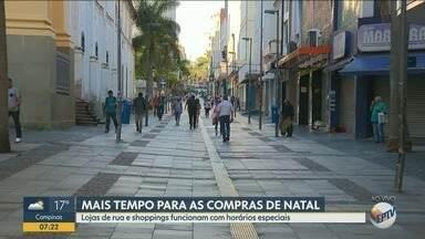 Comércio da região de Campinas amplia horário de funcionamento - Lojas ficam abertas para consumidores anteciparem compras de natal.