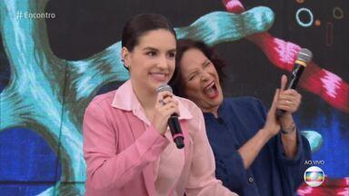 Programa de 13/12/2018 - Fátima Bernardes recebe os atores Milhem Cortaz e Kéfera Buchmann para um papo sobre feminismo. Convidados são surpreendidos com fotos do passado no quadro 'TBT do Encontro'. A música fica por conta de Dilsinho