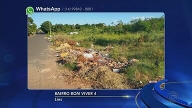 Moradores reclamam da quantidade de lixo em terrenos em Lins - Moradores usaram o Whats App para reclamar da quantidade de lixo em terrenos.