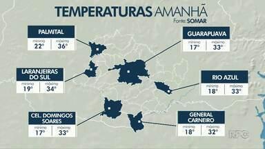 Fim de semana na região de Guarapuava vai ser quente - A previsão é de pancadas de chuvas isoladas.