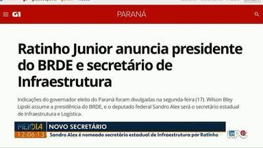 Sandro Alex é nomeado secretário estadual de Infraestrutura por Ratinho - Indicações foram divulgadas, ontem.