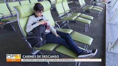 Aeroporto de Brasília ganha cabines de descanso - É o terceiro aeroporto no país a oferecer o serviço, que é pago por hora de uso.