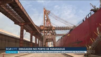 Ratinho Junior pede a suspensão da licitação de dragagem do Porto de Paranaguá - O governo atual contratou por 400 milhões de reais, uma empresa para fazer a dragagem.