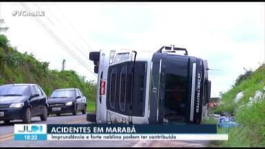 Acidentes envolvendo caminhões são registrados na BR-155 e na BR-230 no Pará - Ninguém ficou ferido.