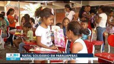Natal Solidário da PM leva alegria para dezenas de crianças em Parauapebas, no Pará - O gesto solidário emocionou a todos.