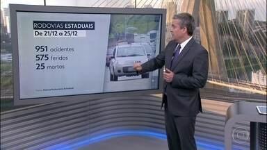 Polícias Rodoviárias Estadual e Federal divulgam balanço nas estradas no Natal - De 21 a 25 de dezembro, 27 pessoas morreram. Foram registrados 1.040 acidentes nas estradas paulistas.