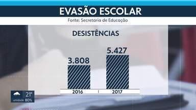 Mais de cinco mil alunos deixaram a escola em 2017 - Os dados são da Secretaria de Educação. Em 2016, o número de desistências foi de 3.808 estudantes, quase metade de 2017 com 5.427.