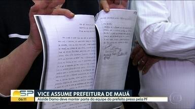 Vice-prefeita de Mauá toma posse no lugar de Átila Jacomussi, preso há 15 dias pela PF - Alaíde Damo tomou posse às 17h desta quinta-feira; Átila Jacomussi não conseguiu aprovação de afastamento por 30 dias.
