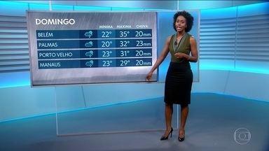 Previsão do tempo para domingo (30/12) - Chove em parte do Norte e Centro-Oeste. Tempo firme em São Paulo e no Rio