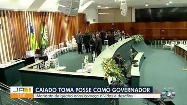 Ronaldo Caiado toma posse como novo governador de Goiás - Sessão foi na Assembleia Legislativa. Em seguida, ele segue para a Praça Cívica.