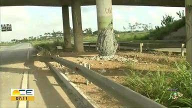Bandidos explodem pilar de viaduto na BR 020 - Rodovia ficou interditada. Técnicos do DNIT foram ao local avaliar os danos à estrutura