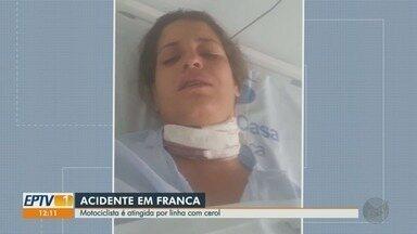 Motociclista tem pescoço cortado por linha com cerol em Franca, SP - Ela passou por cirurgia e está internada na santa casa.