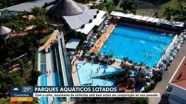 Movimento em parques aquáticos de SC aumenta com o calor - Movimento em parques aquáticos de SC aumenta com o calor