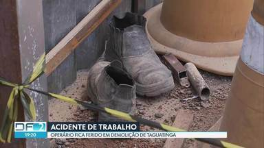 Operário sofre acidente em obra de Taguatinga - Reginaldo Neves da Silva, de 47 anos, estava demolindo uma parede quando a laje desabou. Ele foi socorrido pelos Bombeiros e levado para o Hospital Regional de Taguatinga.