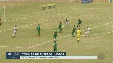 CAT e Guarani ficam no empate em 1x1 na Copa SP de Futebol Júnior - Times estrearam na competição em Taquaritinga, SP.