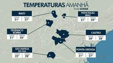 Sexta-feira será de chuva em Ponta Grossa - Temperaturas continuam altas.