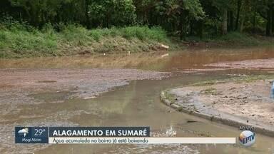 Chuva forte causa alagamento em ruas do Parque Primavera em Sumaré - Temporal aconteceu na quinta-feira (3). Água do Ribeirão Quilombo invadiu o bairro.