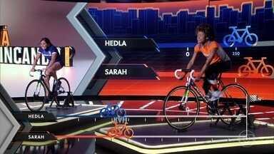 Sarah enfrenta Hedla na pedalera - Jovem pede lambuja e ganha 50 metros de vantagem na prova. Veja quem levou a melhor!