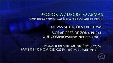 Bolsonaro quer flexibilizar a proposta da posse de armas - A proposta já foi mandada para o presidente Jair Bolsonaro analisar. Essa é uma das promessas de campanha de Bolsonaro e já havia também uma discussão no Congresso para mudar a lei e flexibilizar a posse de armas.
