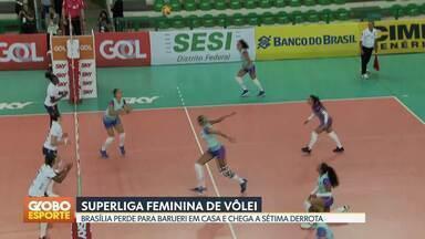 Brasília Vôlei perde para o Barueri - Time paulista vence por 3 sets a 0. Brasília Vôlei chega a sétima derrota na Superliga.
