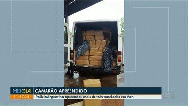 Polícia Argentina apreendeu mais de três toneladas de Camarão em Van - A apreensão foi realizada na fronteira com Foz do Iguaçu.