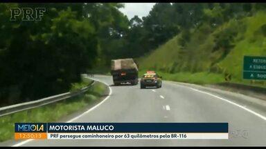 Caminhoneiro que dirigia sob efeito de droga fugiu por 63 km da polícia - Motorista de 23 anos tinha usado cocaína.