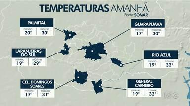 O tempo promete ser de pancadas de chuva na região de Guarapuava - O sol pode até aparecer entre nuvens.
