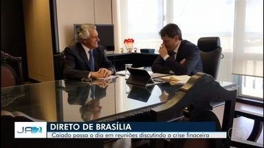 Caiado vai a Brasília para reunião sobre finanças de Goiás - Ele e secretária da fazenda do estado se encontraram com Ministro da Economia Paulo Guedes.