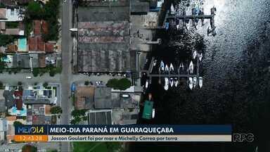 Equipes do Meio Dia Paraná desembarcam em Guaraqueçaba e mostram como foi a aventura - Duas maneiras de chegar a cidade que foi atingida por um temporal há poucos dias.
