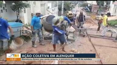 Iniciativa de moradores constrói calçamento em rua de Alenquer, no PA - Moradores estão fazendo a melhoria da via com serviços voluntários.