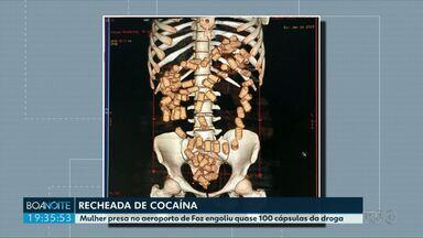 Passageira tenta embarcar no aeroporto depois de engolir mais de 80 cápsulas de cocaína - Paraguaia de 23 anos foi flagrada no Raio-X do aeroporto. Ela foi presa em flagrante e encaminhada ao hospital municipal de Foz do Iguaçu para retirar a droga.